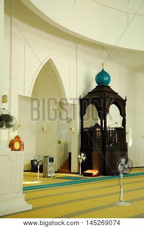 MALACCA, MALAYSIA -JANUARY 26, 2014: Interior of Malacca Straits Mosque at Malacca, Malaysia. Built on the on edge of the man-made Island, Malacca Island.