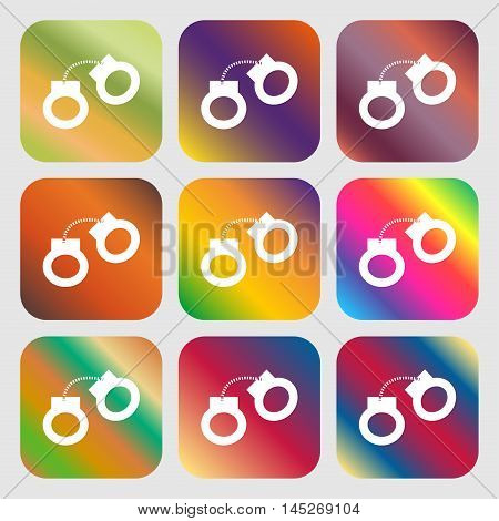 Handcuffs Icon . Nine Buttons With Bright Gradients For Beautiful Design. Vector