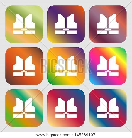 Working Vest Icon . Nine Buttons With Bright Gradients For Beautiful Design. Vector