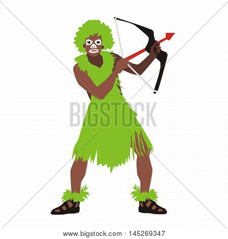 Vector of a man from the tribe wearing green clothes holding a bow and arrow