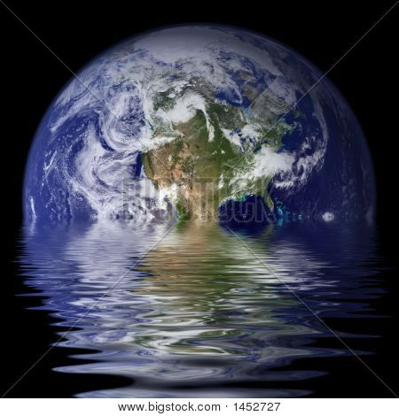 Planet Earth reflected on water with waves / ripples. poster