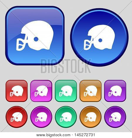American Football Helmet Icon Sign. A Set Of Twelve Vintage Buttons For Your Design. Vector