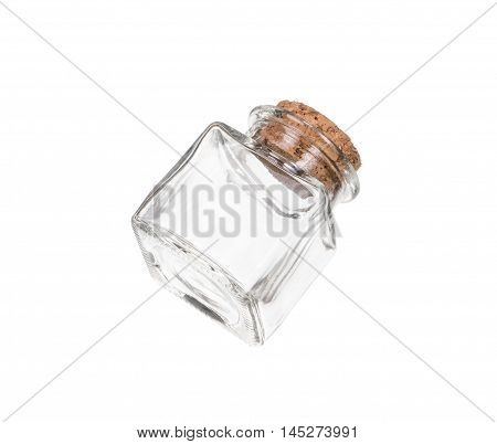 Closed transparent empty jar closed with cork bung, isolated over white