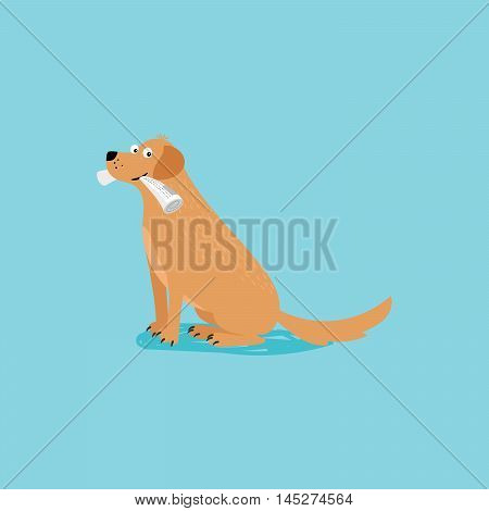 Vector cartoon happy dog with newspaper, card template