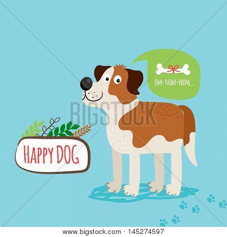 Vector cartoon happy dog, card template with text om-nom-nom
