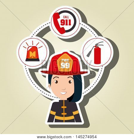 woman firefighter extinguisher vector illustration graphic eps 10
