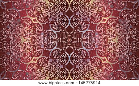 Vector vintage border frame engraving with retro ornament pattern in antique rococo style decorative design on a red background