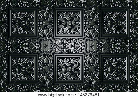 Vector vintage border frame engraving with retro ornament pattern in antique rococo style decorative design on a black background