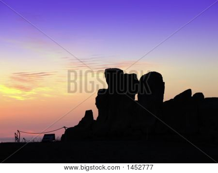 The oldest free-standing building/temple in the world. Oldest neolithic prehistoric temple built thousands of before the pyramids. - Hagar Qim & Mnajdra Temples in Malta Mediterranean Sea Europe - here seen silhouetted at sunset poster