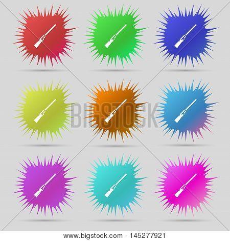 Shotgun Icon Sign. A Set Of Nine Original Needle Buttons. Vector