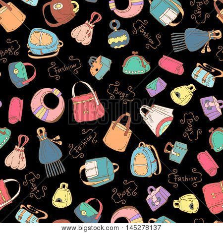 Vector seamless pattern with hand drawn colored handbags for women on black color. Pattern on the theme of fashion. Background for use in design,packing ,web site, fabric