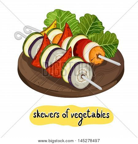 Grilled vegetables kebab on isolated on white background vector illustration. Roasted veggie food. Assorted vegetables barbecue. Grilled vegetable icon. BBQ vegetable. Barbecue food concet.
