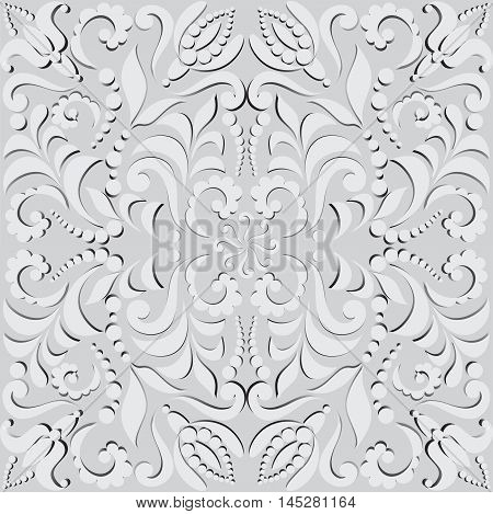 Vegetable seamless pattern in 3D. Pattern for design cards, wall tapestries, holidays and ceremonies. The white elements of the pattern with shadow on gray background.