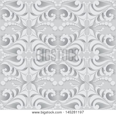 Abstract seamless pattern in 3D. Pattern for design cards, wall tapestries, holidays and ceremonies.Background in shades of gray.