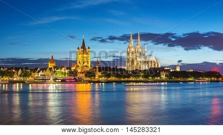 Cologne panorama city skyline at Germany at night