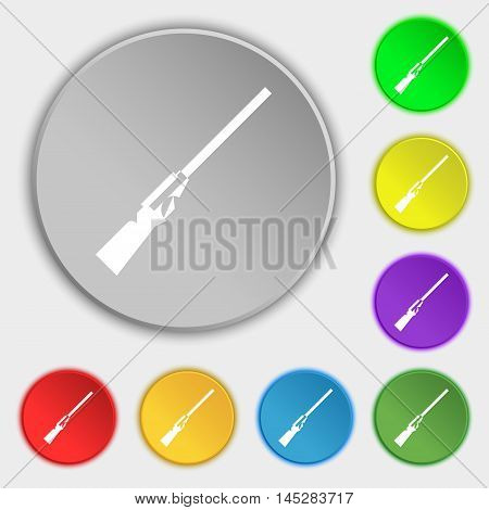 Shotgun Icon Sign. Symbol On Eight Flat Buttons. Vector