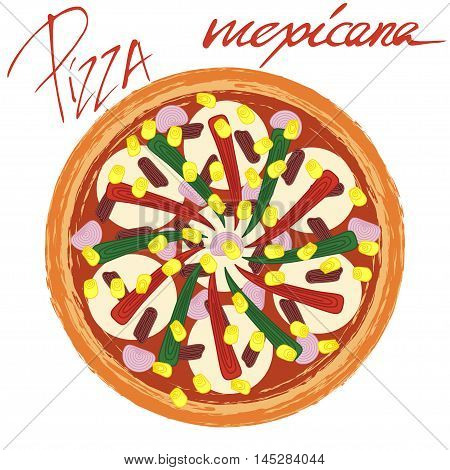 Pizza mexicana image on white background with handwritten caption. Vector illustration eps 10