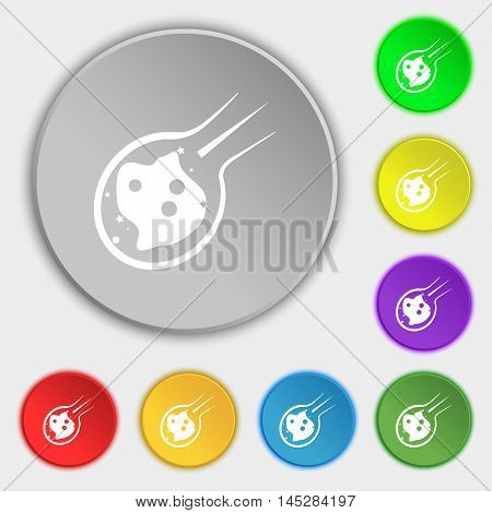 Flame Meteorite Icon Sign. Symbol On Eight Flat Buttons. Vector