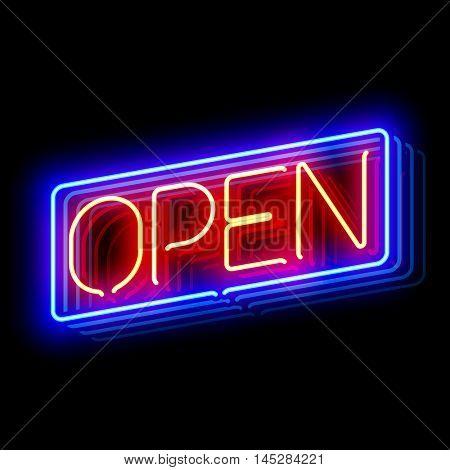 Open neon sign. Vector illustration.