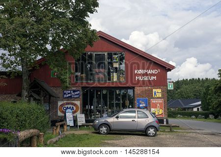 VEJLE DENMARK - AUGUST 22 2016: Bindeballe Merchant founded in 1897. The grocer's shop in full operation in the original buildings as an old-fashioned general store also a living museum August 22 2016.