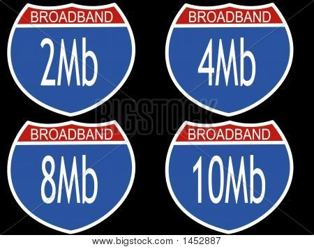 Interstate Signs With Download Speeds