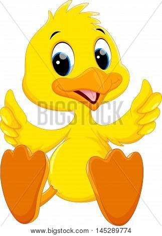 Vector illustration of cute baby duck cartoon thumb isolated on white background