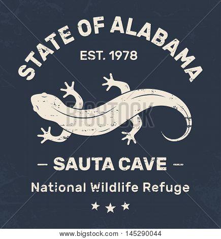 Alabama T-shirt Design, Print, Typography, Label With Salamander. Vector Illustration.