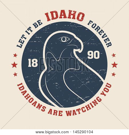 Idaho T-shirt Design, Print, Typography, Label With Peregrine. Vector Illustration.