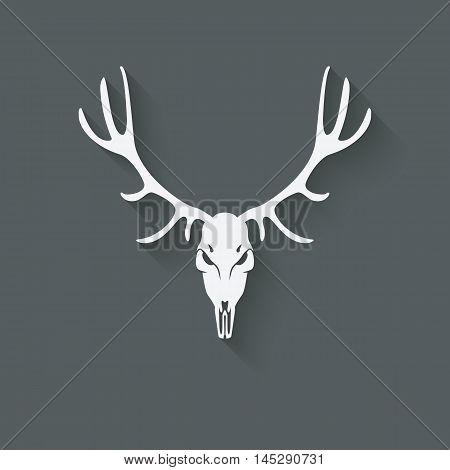 deer skull silhouette. vector illustration - eps 10