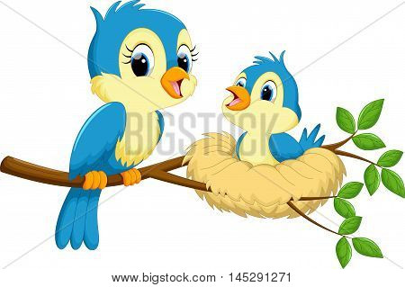 Vector illustration of mother bird with babies isolated on white background
