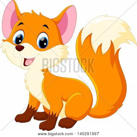 Vector illustration of cute baby fox cartoon isolated on white background