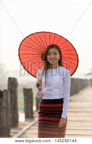 Portrait Of Smiling Beautiful Young Burmese Woman