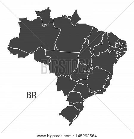 Brazil map with districts grey vector isolated