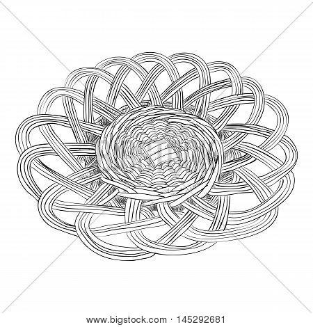Vector sketch of wicker dish. Hand draw illustration.
