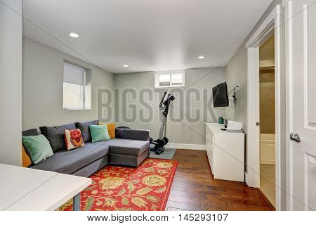 Sitting Room Interior With Sport Equipment In The Basement
