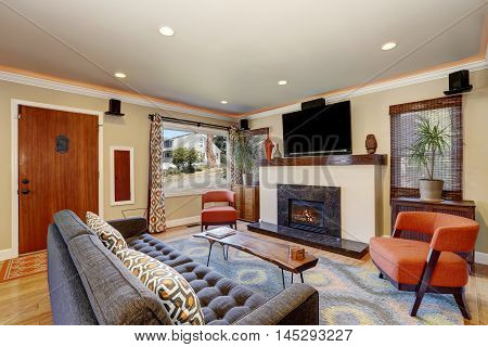 Open Concept Living Room In American Craftsman Style House
