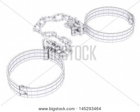 Wire-frame white shackles isolated on white. 3d rendering