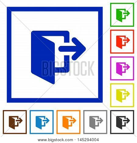 Set of color square framed exit flat icons