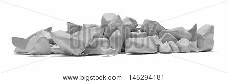Pile of white stone isolated on white background. 3D illustration