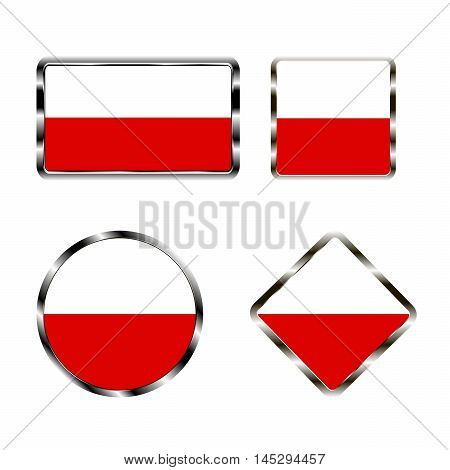 Vector illustration of logo for the country of  Poland. Isolated in the drawing consists of flag chrome frame contingent European design on a white background. Badge for government states atlas map