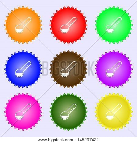 Thermometer Icon Sign. Big Set Of Colorful, Diverse, High-quality Buttons. Vector
