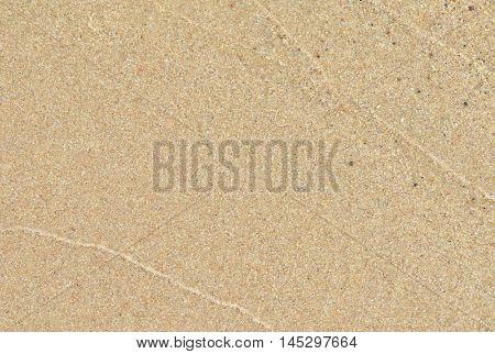 Wet, yellow sand macro image.
