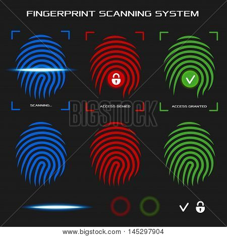 Finger-print scanning identification system. Biometric authorization and business security concept. Access denied and granted mode. Flat design elements for mobile applications. Vector illustration.