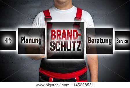 Brandschutz (in German Fire Protection Help Planning Advice) Touchscreen Is Operated By Craftsman