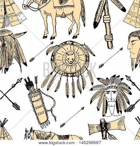 Hand Drawn ethnic native vector illustration. American's Indian warriors, Arrows, tomahawk, shield, bow. Sketches. Seamless pattern.
