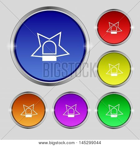 Police Single Icon Sign. Round Symbol On Bright Colourful Buttons. Vector