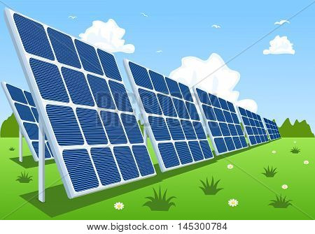 Solar panels or photovoltaic modules. Vector illustration