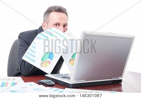 Manager Looking Scared After Analyzing Charts