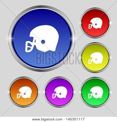 American Football Helmet Icon Sign. Round Symbol On Bright Colourful Buttons. Vector