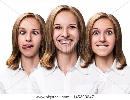 Collage of young woman makes fun faces isolated on white.
